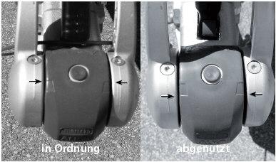 Verschleißmarkierung Reibbeläge rechts und links