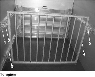 Trenngitter quer verstell- und schwenkbar für Humbaur Pkw-Vieh-Transporter
